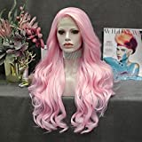 IMSTYLE Hot Pink Lace Front Wig Natural Long Big Wavy Heat Resistant Free Part Wig Realistic Hairline for Party Drag Queen Fashion Women