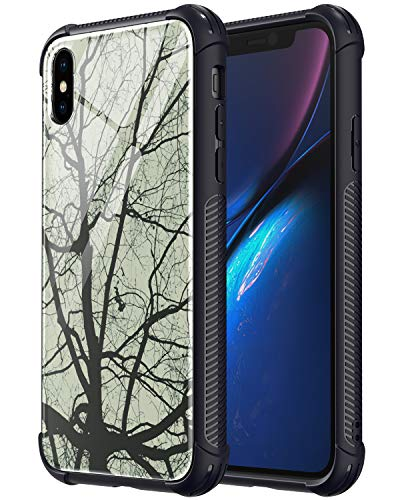 ULAK Luminous iPhone Xs Max Case, 9H Tempered Glass Back Cover with Anti-Slip Soft TPU Bumper for iPhone Xs Max 2018 (Glowing Trees)