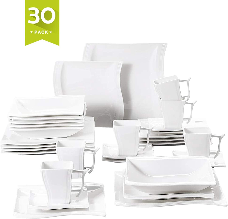 Malacasa 30 Piece Porcelain Dinnerware Set Service for 6, Square Plate Sets White Dinner Plates Soup Plates Dessert Plates Cups Saucers, Series Flora