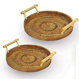 Plateaux de service en rotin – Lot de 2 | Plateau de table basse circulaire | Corbeille à pain avec poignées | Plateau à…