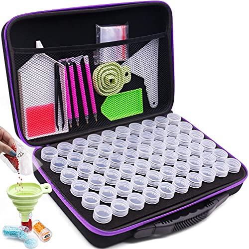 ARTDOT 60 Bottiglie Organizzatore per Diamond Painting 5D con Imbuto, Penne, Perline a Diamante Roller, Adesivi, Vassoio per Fai da Te Pittura Diamante, Nail Art Strass,Perline con Custodia