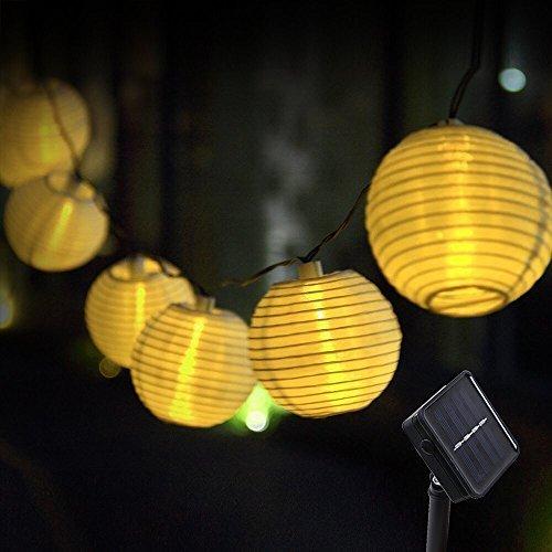 Innoo Tech Solar Lichterkette Lampions 20er LED Garten Außen Innen Wasserfest 3,3 Meter Warmweiß Solar Beleuchtung für Party, Terrasse, Hof, Haus, Outdoor, Fest Deko usw. (Warmweiß)