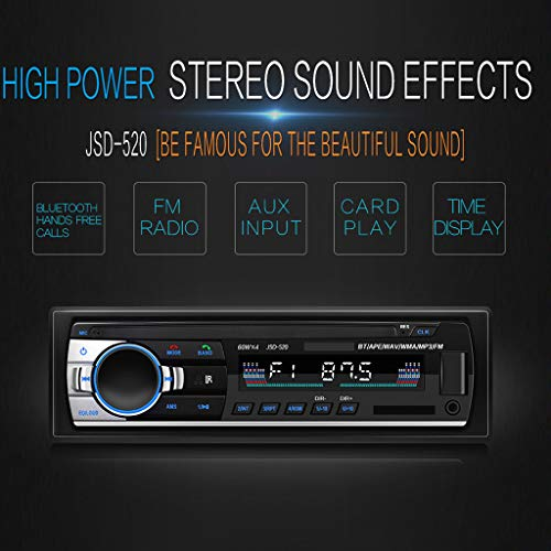 TTbuy Jsd-520 Car Cd Player/Car Mp3 Player Radio Multimedia Car Stereo Car Cd Player with Bluetooth/USB/Sd Card/Mp3-Aux/Fm-Am Function,RCA Audio Output Connected to Subwoofer+RemoteControl (Car Play)