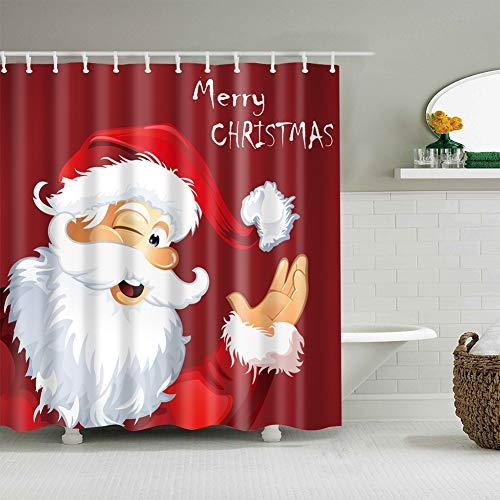 Longzhuo Cortina de ducha de Navidad 180 x 180 cm, antimoho, impermeable, 12 anillos de ducha con impresión digital 3D