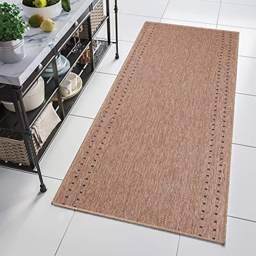 Tapiso Floorlux Teppich Läufer Meterware Flur Küche Wohnzimmer Indoor Sisal Optik Modern Viereck Braun Beige Flachgewebe 70 x 420 cm
