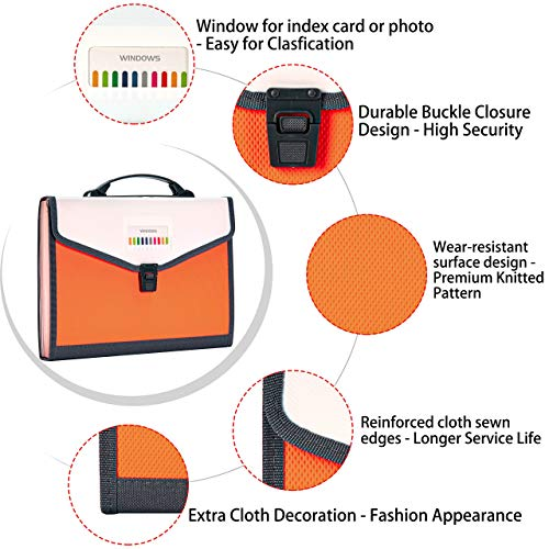 FANWU 13 Pockets Expanding File Folder Accordion File with Handle & Buckle - Letter A4 Paper Size - Expandable Plastic File Folder Monthly Portable Document Organizer for Home School Office (Orange) Photo #9