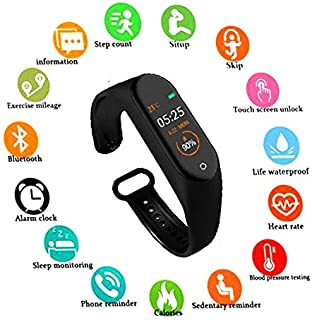 SBA999 ABM408 M4 Bluetooth Wireless Smart Fitness Band for Boys/Men/Kids/Women | Sports Watch Compatible with Xiaomi, Oppo, Vivo Mobile Phone | Heart Rate and BP Monitor, Calories Counter