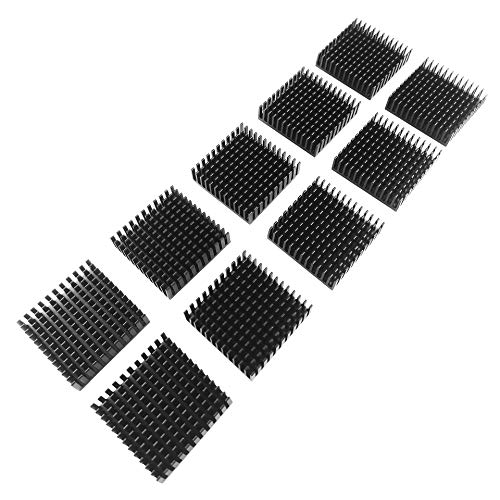 Kühlkörper [40x40x11mm] [10 Stück] Aluminum Heatsink Wärmeableiter Kühlung Kühler | geeignet für GPU RAM SSD VRAM VRM Steuerplatinen Elektronik LED SMD IC