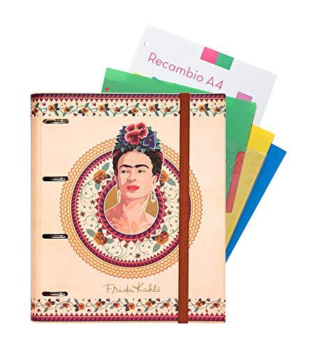 Grupo Erik Editores Frida Kahlo - Carpeblock con 4 anillas, 32 x 27.5 cm