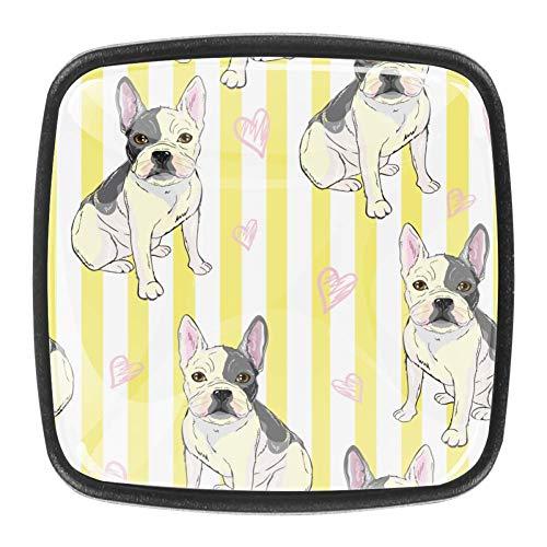 Perillas de tocador de gabinete de baño de vidrio de cristal de 4 piezas de metal, tiradores para cocina, patrón de Bulldog, perillas de cajón, armario, armario