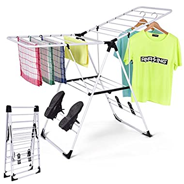 TANGKULA Clothes Drying Rack Collapsible Laundry Sweaters Socks Underwear Shoe Holder & 2 Shelves Study Steel Frame Space Saving Adjustable Hanging Foldable Drying Rack (White)