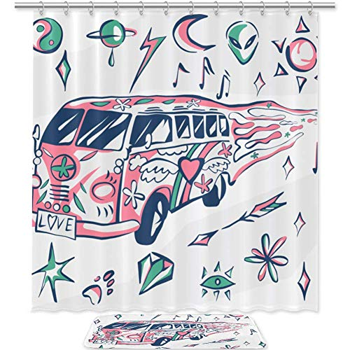 TIZORAX Travel Bus Bad Duschvorhang Set mit rutschfesten Badteppichen Bodenmatte Home Decoration