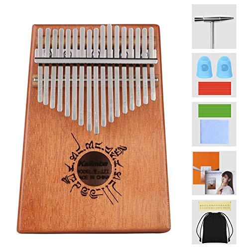 Kalimba Daumenklavier,17 Schlüssel Thumb Piano mit Stimmhammer Musikinstrument,tragbares Mbira Sanza afrikanisches Finger-Klavier für Musikliebhaber Kinder Erwachsene Anfänger Geschenk