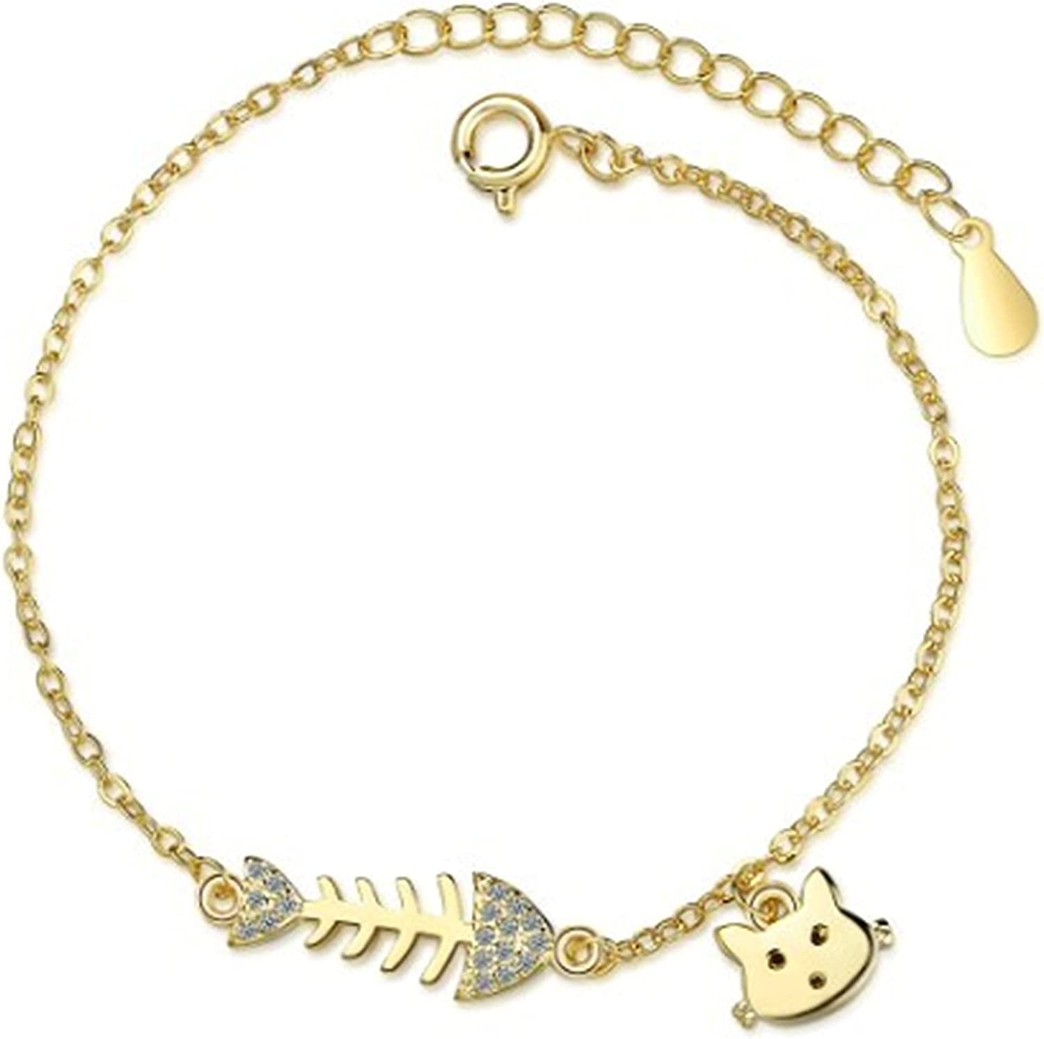 YSJJPQC Clearance SALE Limited time Bracelets 100% 925 Sterling Silver Cat 2021 spring and summer new Bone Fish Sweet