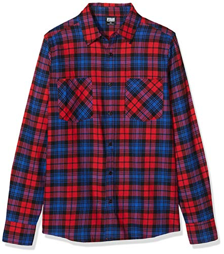 Urban Classics Hemd Checked Flanell Shirt 5 Camicia, Multicolore (Red/Royal 02373), XL Uomo
