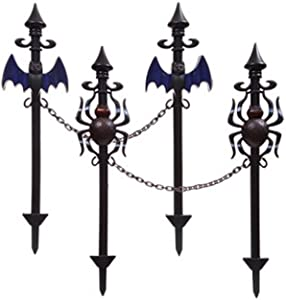 Spooky Halloween Lawn Stakes With Connecting Chain -Set of Four (Spiders and bats) 2 bats 2 spiders