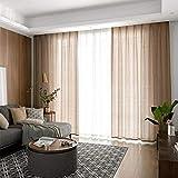 WBXZAL Cortinas de Tul con Gancho de Arpillera, Cortinas Translucidas Dormitorio, Adecuada para Salon Cocina Habitacion Infantil, Cortinas de Piso, 2 Piezas-Color Café_1.5 * 2.7M