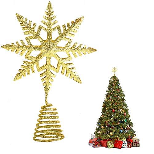 EKKONG Puntale per Albero di Natale, Albero di Natale Argento,Puntale Albero Natale Glitterato Stella Albero di Natale, Punta Albero di Natale (d'oro)
