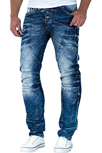 Cipo & Baxx Herren Jeans Modell-22 Freizeit-Hose Clubwear Biker Style Top Denim,34W / 34L