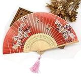 JIAWEIDAMAI - Abanico plegable de mano de seda con diseño de mariposas, color cerezo y orquídea, varios colores