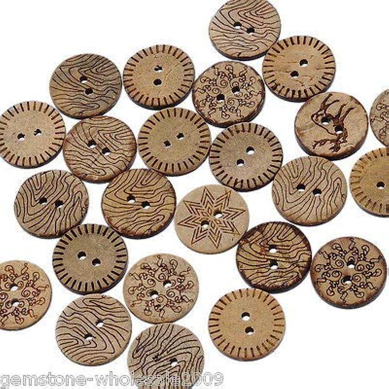 FidgetFidget Sewing Buttons Wholesale Lots Pattern Coconut Shell 18mm B19959 2000PCs