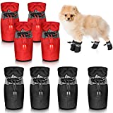 Frienda 2 Sets Waterproof Dog Shoes Rain Snow Dog Booties Anti-Slip Dog Sock Shoes Breathable Paw Protector Soft Soled Dog Boots with Adjustable Drawstring for Small Puppy (M, Red, Black)