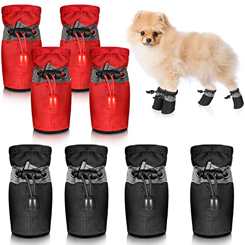 2 Sets Waterproof Dog Shoes Rain Snow Dog Booties Anti-Slip Dog Sock Shoes Breathable Paw Protector Soft Soled Dog Boots with Adjustable Drawstring for Small Puppy (L: 1.64 x 1.4'', Red, Black)