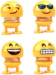 4 Pack Cute Emoji Springs Bobble Head Dolls, Funny Smiley Face Bounce Toys for Car Interior Accessories Decoration, Home Ornament, Party Favors, Novelty Emoticon Shaking Head Dance Toys (Cool)