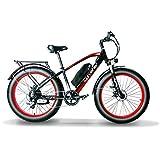 Extrbici XF650 - Bicicleta eléctrica, 26 pulgadas, aleación de aluminio, 48 V, 13 Ah, batería de litio, 7 velocidades, 21 velocidades, XF650 1000W 48V 13A 7S Negro Rojo