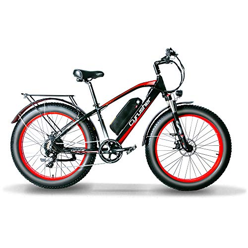 Cyrusher XF650 1000W Electric Mountain Bike 264 inch Fat Tire e-Bike 7 Speeds Beach Cruiser Mens Sports Mountain Bike for Adults,48V 13AH Lithium Battery Beach Cruiser for Adults (Red)