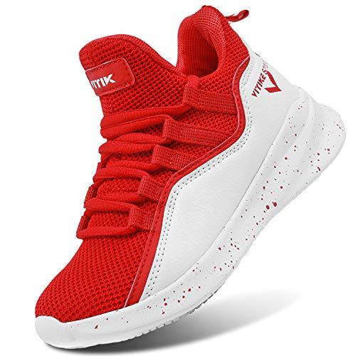 ASHION Kinder Sneaker Basketballschuhe Herren Sneaker Sportschuhe Jungen Turnschuhe Laufschuhe,34,rot