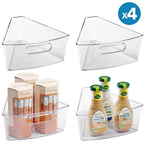 Lazy Susan Organizers 4 Packs 10x94x4 Plastic Transparent Kitchen Cabinet Storage Bins 4 Deep Container 18 Wedge - Food Safe BPA Free