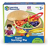Learning Resources Super Sorting Pie, Fine Motor Toy, Develops Counting and Color Recognition, Pretend Play Food, Kids Tweezers, Educational Toys for Toddlers, 68 pieces, Ages 3+