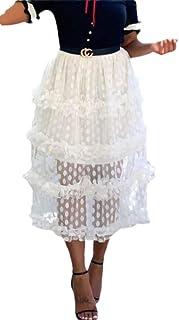 Women See Through Ruffle Mesh A-Line Maxi Skirts