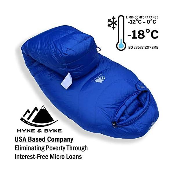 Hyke & Byke Snowmass -15ºC Saco de Dormir de Plumón - Saco de Dormir Adulto Momia con Base ClusterLoft Ligero para… 2