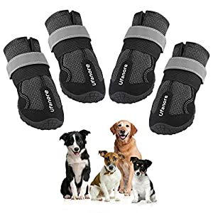Ufanore Dog Boots, Waterproof Dog Shoes with Reflective and Adjustable Velcro Rugged Non-Slip Sole for Outdoor & Indoor Suitable for Small to Large Dogs 4 Pcs