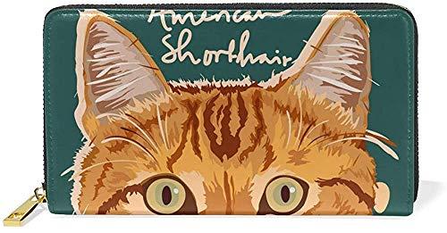 Bolso de mano de piel con cremallera y tarjetero, con diseño de gato, estilo vintage One_color. Talla única