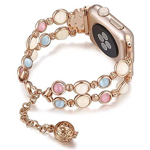CHENPENG Banda Compatible con Apple Watch 1/2/3/4/5/6, Bandas de reemplazo de Pulsera Hechas a Mano Luminosas de Moda para Mujeres y niñas,C,38MM