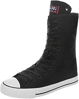 Women's Long Boots Ladies Casual Knee High Riding Flat Boots Mid Boots High-top Zipper Lace-Up Canvas Shoes