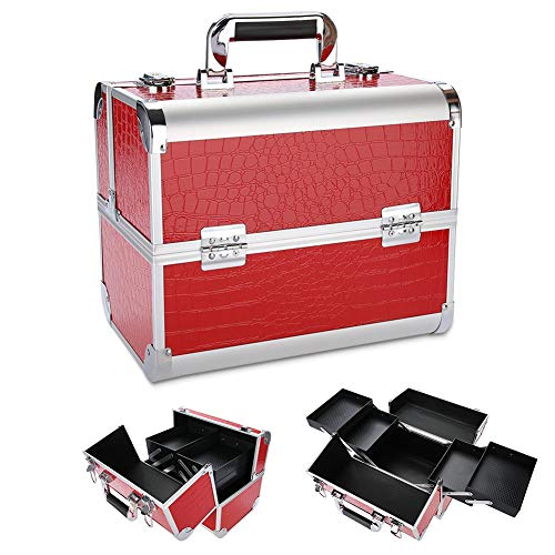 Cocoarm cosmeticakoffer aluminium draagbare professionele make-up koffer visagistenkoffer multikoffer etagekoffer transportkoffer voor op reis, 32 * 21 * 26 cm (rood)