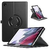 TiMOVO Funda Compatible con Samsung Galaxy Tab A7 Lite 8.7 2021(SM-T220/T225/T227), Cubierta Protectora de PU Cuero Soporte Giratorio de 90 Grados, Negro