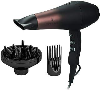 Wazor - Secador de pelo iónico profesional con difusor, secador de pelo de grado infrarrojo con peine, 1875W potente y silencioso, secador de pelo de cerámica turmalina con boquilla, color negro