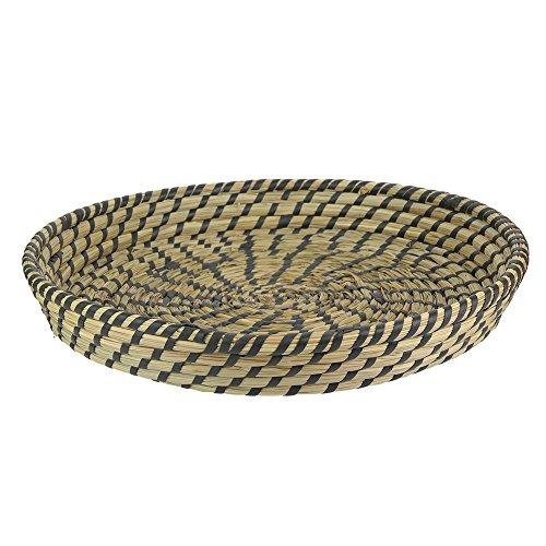 THE HOME DECO FACTORY Bandeja de presentación Trenzado diámetro 35cm, Mimbre, Marron-Noir, 35x 35x 5cm