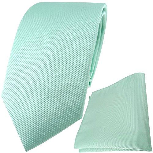 TigerTie Designer Krawatte Einstecktuch in mint grün einfarbig uni Rips