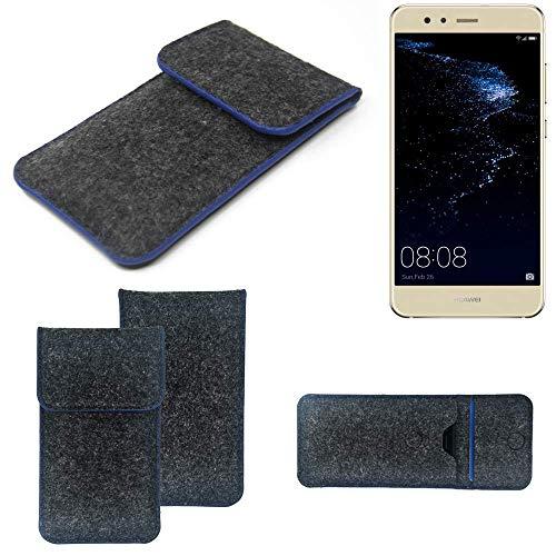 K-S-Trade Handy Schutz Hülle Für Huawei P10 Lite Dual-SIM Schutzhülle Handyhülle Filztasche Pouch Tasche Hülle Sleeve Filzhülle Dunkelgrau, Blauer Rand