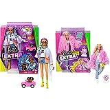 Barbie Muñeca Extra 3 con Un Mullido Abrigo De Peluche Rosa, Una Mascota Mezcla De Unicornio Y Cerdito + Extra Muñeca Articulada con Trenzas De Colores, Accesorios De Moda Y Mascota (Mattel Grn29)