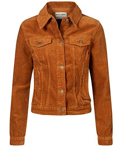 Rock Creek Damen Cordjacke Übergangsjacke Damenjacke Jeansjacke Oversize Vintage Retro Jacken Kurz Frauen Jacke Winterjacke Warm D-432 Orange M