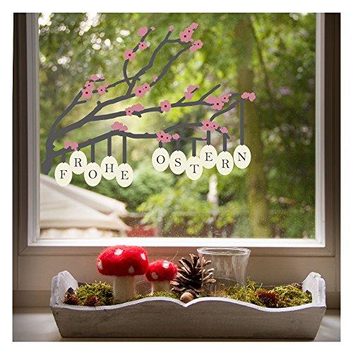 Wandmotive.de Fensterbild Osterzweig, stilvolle Oster-Deko für das Kinderzimmer, Größe 30 x 23 cm