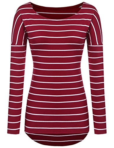 Striped Long Sleeve t-Shirt (L, Red)