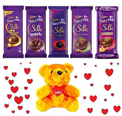 Valentines Special - Cadbury Combo Dairy Milk Silk Pack of 5 270 g with Teddy Bear